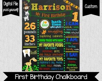 Safari Birthday Chalkboard - First Birthday Safari - SAFARI - Boy's Birthday Chalkboard - Zebra - Monkey - Giraffe - Animals - 1st