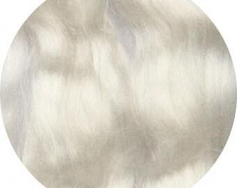 Mulberry silk roving,   white,   20 grams, for spinnng/ felting, bombyx silk, cultivated silk in tops, raw fiber, silk fiber.