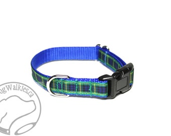 "NEW - Gordon Clan Tartan Small Dog Collar - Thin Dog Collar - 1/2"" (12mm) Wide - Blue Green Plaid - Choice of collar style and size"