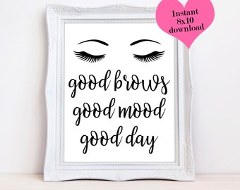 Eyebrow Wall Art, Cubicle Accessories, Cosmetology Gift, Eyebrows Printable, Black And White Prints, Glam Wall Art, Desk Decor, Office Print