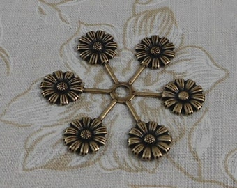 LuxeOrnaments Oxidized Brass Filigree Floral Connector Bail Bead Cap (1 pc) S-4156-B
