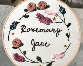 Floral Name/Phrase Embroidery Wall Hanging