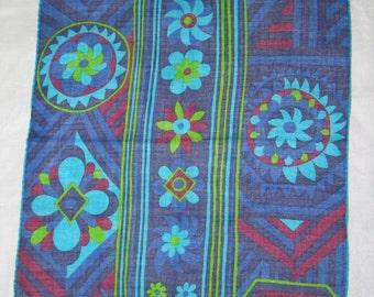Vintage Hanky / FISBA STOFFELS~1970s Handkerchief Hanky~Artist Signed Hankie-Handkerchief-Abstract Flowers-Psychadelic Unused