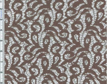 Mocha Textured Lace, Fabric By The Yard
