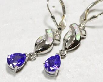 White Opal Earrings Gemstone Earrings Sterling Silver Earrings  Birthstone Jewelry Amethyst Earrings Drops Earrings