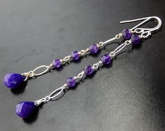 Purple Drop Earrings, Grape Colored Chalcedony, Sterling Silver Chain Dangles, Long Gemstone Earrings