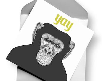 Chimp Greetings Card - Monkey / Jungle Design