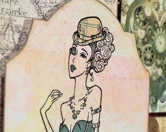 Steampunk Lady in Green finished greeting card w envelope