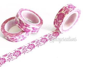 WASHI TAPE | Pink Floral Washi Tape | Purple Floral Washi Tape | Japanese tape | Planner tape Planner Stickers | Flower washi | Scrapbooking
