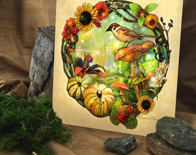 Featured listing image: Forest Friends by Leanne Peters - Nature Art - Bird Art - Fantasy Art - New Age Art - Forest - Magic - Flower Art - Wreath - Digital Art