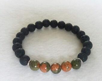 Diffuser Bracelet, Unakite and Lava Stone Stretch Bracelet, Gemstone Bracelet, Aromatherapy Bracelet