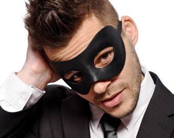 Mens Black Masquerade Mask - Faux Leather - Prom Mask - Venetian Mask  - Party Mask - Men's - Unisex