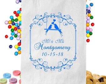 24  Personalized Lovebirds Candy Table Treat Bags Wedding Favor Bags