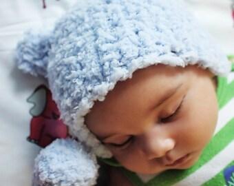 6 to 12m Blue Bear Hat Baby Boy Beanie Bear Cub Crochet Blue Baby Hat Bear Beanie Baby Bear Photo Prop