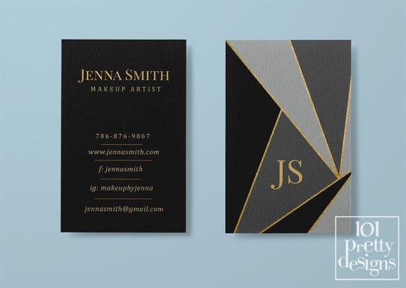 Modern geometric business card makeup business card black reheart Gallery