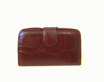 Stitched Leather Wallet Dark Mahogany brown Billfold Leather Checkbook Retro Zipper  Purse women's Leather Wallet