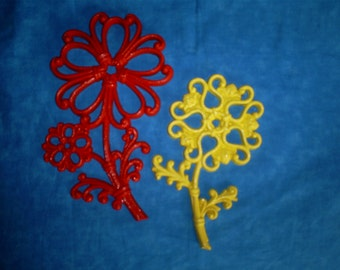 SALE  Vintage Set of 2 HOMCO Orange and Yellow Flowers. Was 9.00.