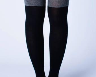 Color Block Thigh High Socks