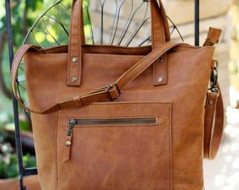 Tote bag, italian leather handbag, leather tote, brown tote, shoulder bag, shopper bag, crossbody bag, tote with zipper, messenger bag T1