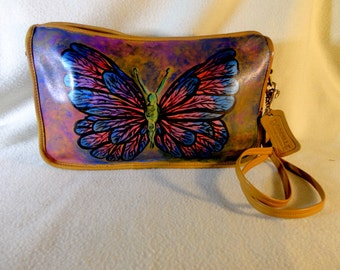 "Vintage Dorcelle Leather Handbag "" Electric Butterfly""  Artist Enhanced, One of a Kind"