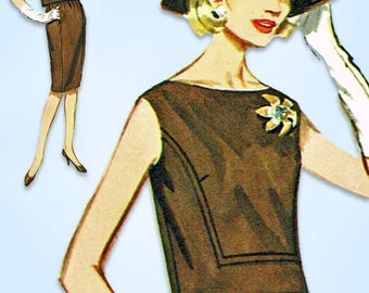 1960s Vintage Butterick Sewing Pattern 2343 Misses Two Piece Dress Size 32 Bust