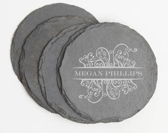 Personalized Slate Coasters, Custom Engraved Round Slate Coaster, Personalized Coaster Set, Personalized Wedding Gift, Housewarming Gifts D4