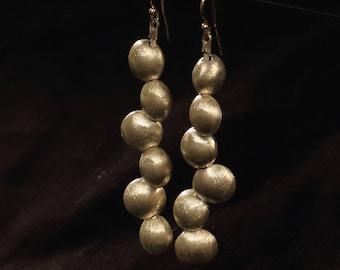 pure silver beads earrings with 14k gold wire, long drop earrings, statement earrings,