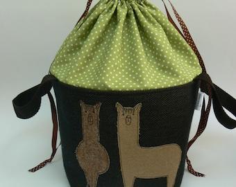 Tweedy Alpacas applique large drawstring project bag, large knitting bag
