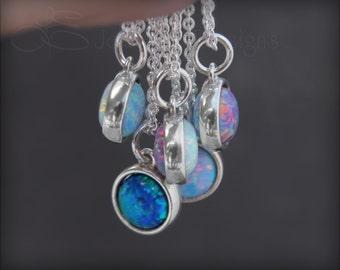 REVERSIBLE OPAL NECKLACE - blue opal, two opal, sterling silver, opal pendant, opal necklace, 8mm opal, october birthstone