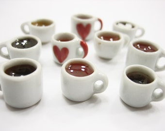 Mixed 10 Cups Hot Black Coffee Tea Dolls House Miniatures Food Beverage #S Supply Charms - 13441