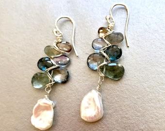 Blue Topaz, Moss Aquamarine, Labradorite, Tundra Sapphire and Freshwater Pearl Earrings-- London Blue Topaz Earrings--Aquamarine Earrings