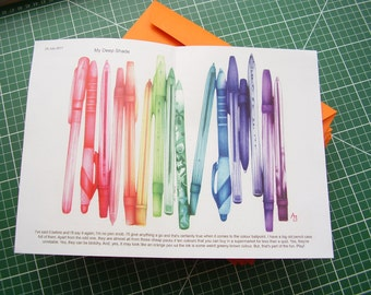 Art zine 'An Idle Daydream Based on Colour' an A5 look at an artist's tools, pens, techniques and materials