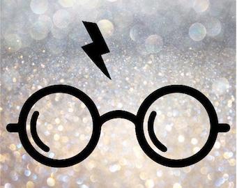Harry Potter Glasses Decal- Vinyl Decal,  Laptop Decal, Harry Potter Decal, Harry Potter Decal for Car