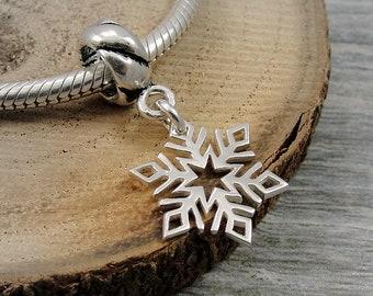 Sterling Silver Snowflake European Charm, Snowflake Dangle Charm, Large Hole Bead Charm, Snowflake Charm with bail fits European Bracelets