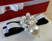 Black Ribbon White Pearls...
