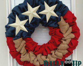 4th of July Burlap Wreath - Natural, red, and Blue Burlap Wreath, Rustic Wreath, Patriotic, Flag Wreath , Independence Day