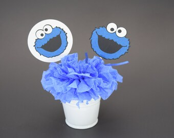 Cookie Monster Topper, Cookie Monster Birthday Topper, Cookie Monster Decoration, Cookie Monster Decor, Sesame Street, Personalized Topper