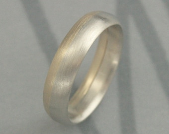 Solid Bi Color White and Yellow Gold Band--Modern Two Tone Band--Rounded Men's Brushed Wedding Band--Hand Made to Size Just for YOU