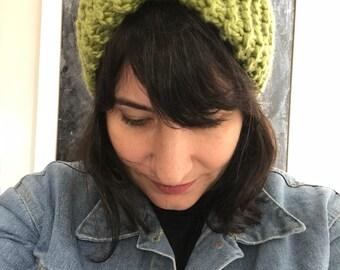 Pea green Knit Turban Headband, Knit Headband, Turban, Ear Warmer, Winter Hairband, Winter Headband, pea green.