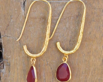 Beautiful Red Onyx Earrings,Onyx Earrings,Mother's Day Earrings,Green Onyx Faceted Earrings,Perfect Gift for Girls,Handmade Jewelry Earrings
