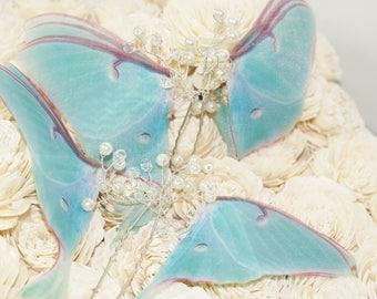 Butterfly hair pins - Luna Moth hair pins - wedding hair pins - hair pins - hair accessories - hair pins wedding - hair pins wedding pearl