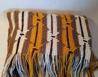 Vintage Handmade Afghan Brown Cream Yellow Gold Retro Boho Crocheted