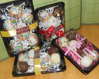 Happy Birthday Cake Pop Gift Box, 1/2 dozen, gift box with card