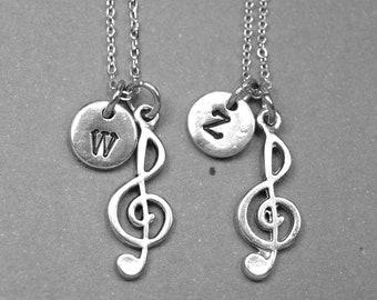 Best friend necklace, treble clef necklace, musical note necklace, bff necklace, friendship jewelry, best friend jewelry, personalized charm