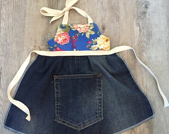 Children's Apron. Toddler Apron, Adjustable Apron. Floral Apron.   Denim up-cycle Apron. Age 1 to 3 years. Girls Apron.