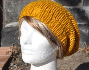 Golden Yellow Knit Hat - Wool Ribbed Slouchy Knit Hat Hat - Unisex Hat