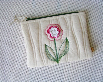 zipper pouch, quilted pouch, quilted zipper pouch, recycled, upcycling, unique pouch, cosmetic bag, zip pouch, embroidered, crochet flower