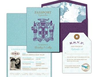 Jamaica Passport Wedding Invitation // Boarding Pass Invitation // Destination Wedding Invitation