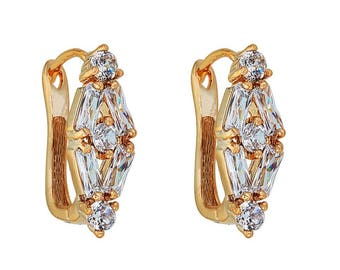 14k Gold Filled Diamond Shaped Earring with Clear Stones