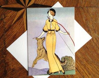 Diana The Huntress.  Art Deco Fashion Illustration Greeting Card.